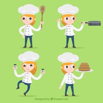 Coleção de caráteres do cozinheiro chefe no projeto liso