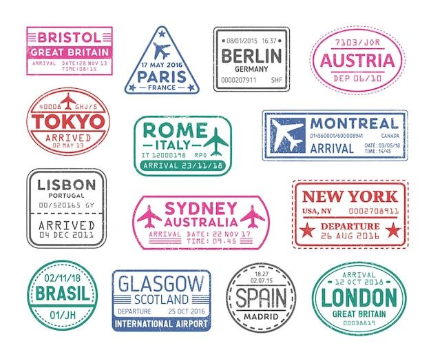 Coleção de carimbos de vistos de passaporte isolados. pacote de viagens ou marcas turísticas