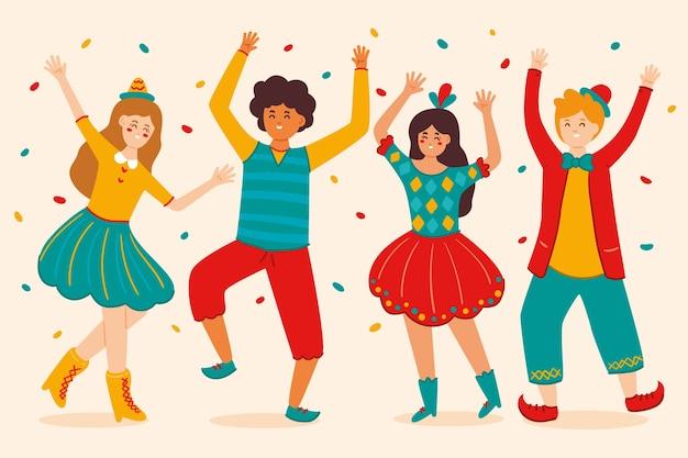 Coleção de carnaval de confetes e dançarinos