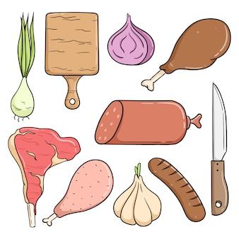 Coleção de carne bonito com estilo doodle