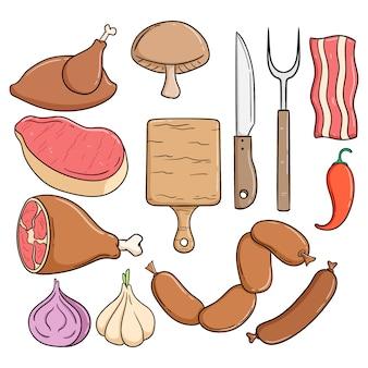 Coleção de carne para bife com estilo doodle