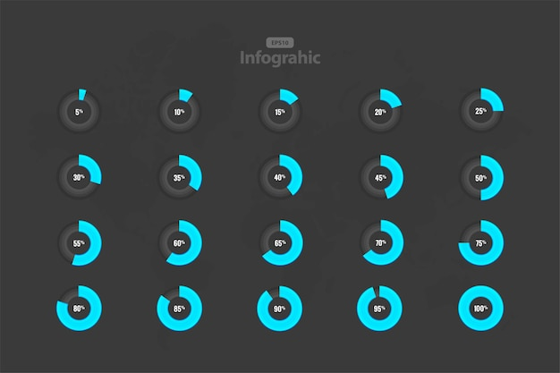 Coleção de carregamento de círculo isolado em cinza