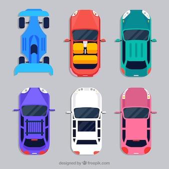 Coleção de carro top view