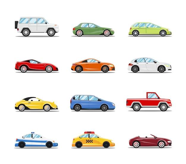 Coleção de carros de vetor. veículos em estilo plano