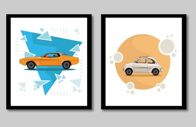 Coleção de carros diferentes isolado no fundo branco vista lateral estilo simples