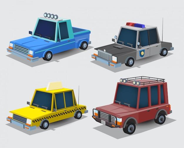 Coleção de carros dos desenhos animados. camionete da vila, carro da polícia, táxi e jipe. conjunto de carros isolado no fundo branco. ilustração