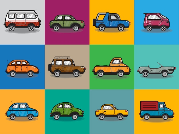Coleção de carros e caminhões ilustração