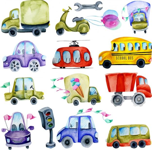 Coleção de carros e elementos em aquarela