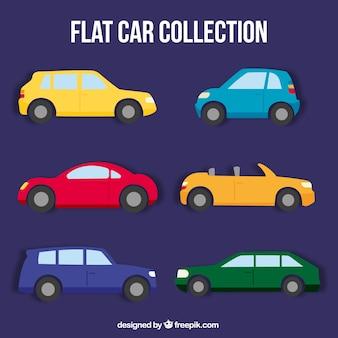 Coleção de carros lisos coloridos