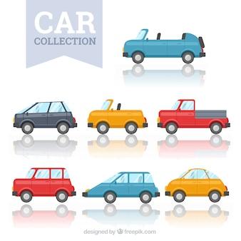 Coleção de carros no design plano