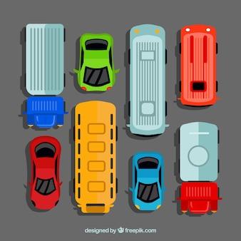 Coleção de carros planos com ônibus