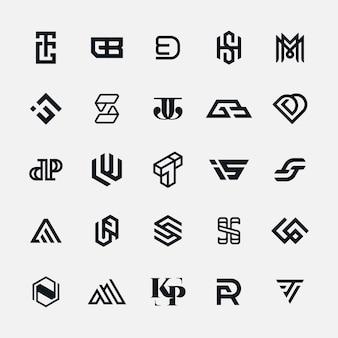 Coleção de carta de logotipo moderno monograma