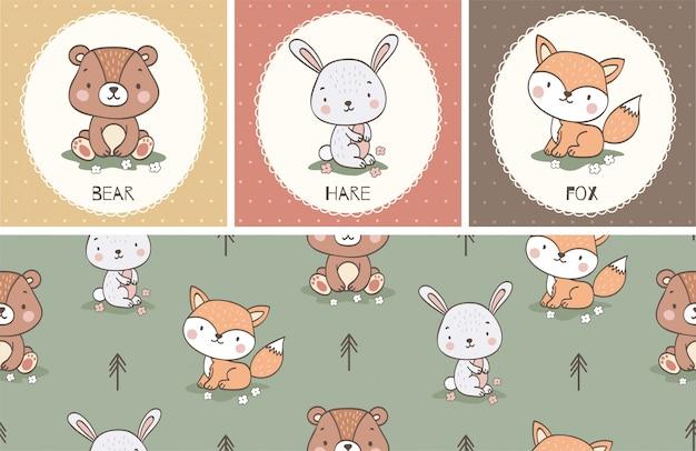 Coleção de cartão animal bonito dos desenhos animados e conjunto padrão sem emenda. mão ilustrações desenhadas.