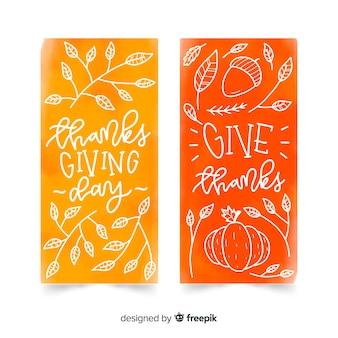 Coleção de cartão aquarela dia de ação de graças