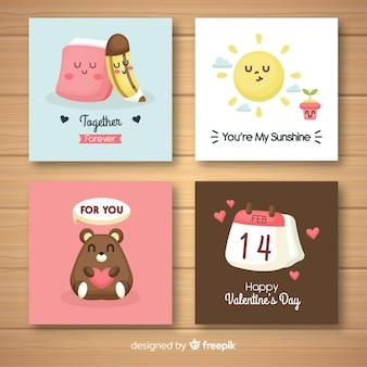 Coleção de cartão bonito dos namorados