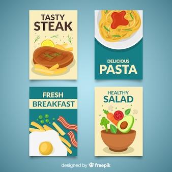 Coleção de cartão colorido comida