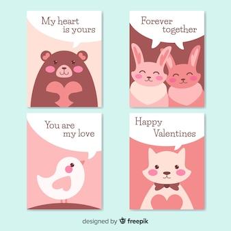 Coleção de cartão de animais dia dos namorados