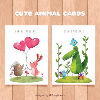 Coleção de cartão de animais encantadora
