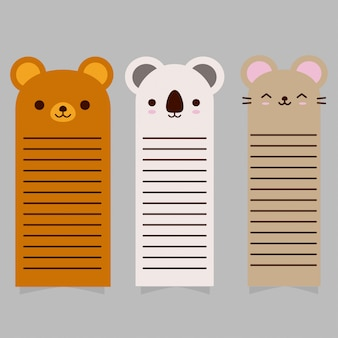 Coleção de cartão de animais fofos