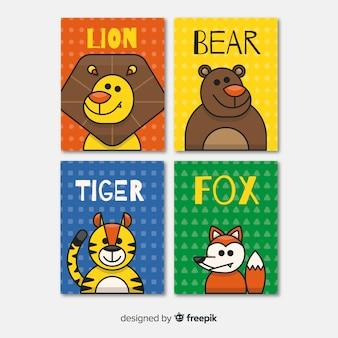 Coleção de cartão de animais selvagens