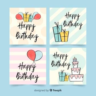 Coleção de cartão de aniversário bonito mão desenhada