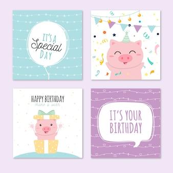 Coleção de cartão de aniversário bonito