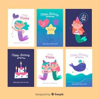 Coleção de cartão de aniversário de sereia