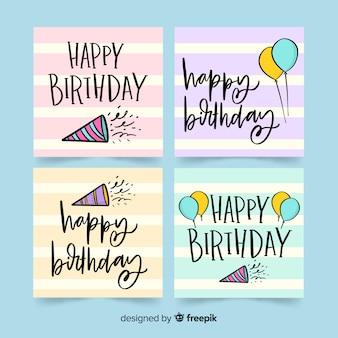 Coleção de cartão de aniversário desenhada de mão