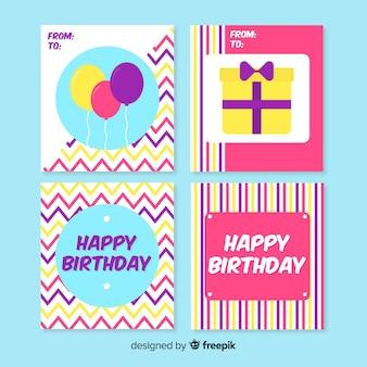 Coleção de cartão de aniversário design plano