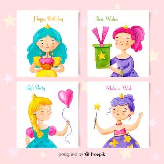 Coleção de cartão de aniversário estilo aquarela