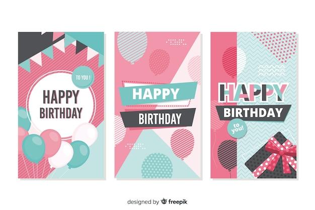 Coleção de cartão de aniversário mão desenhada coleção de cartão de aniversário