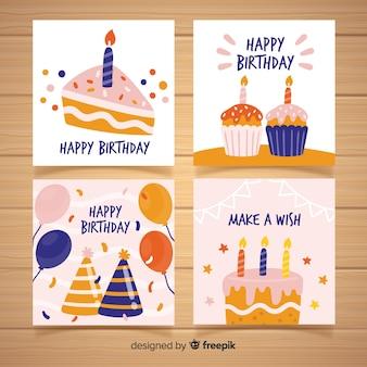 Coleção de cartão de aniversário na mão desenhada estilo