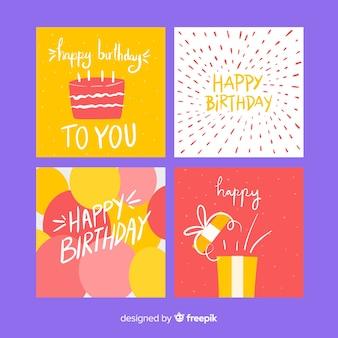 Coleção de cartão de aniversário na mão desenhada
