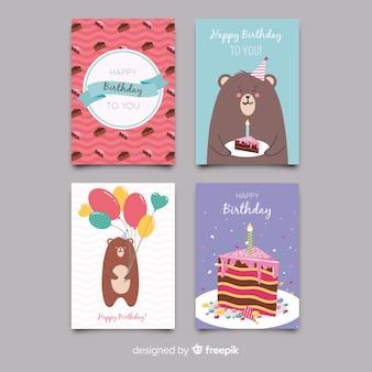 Coleção de cartão de aniversário plana
