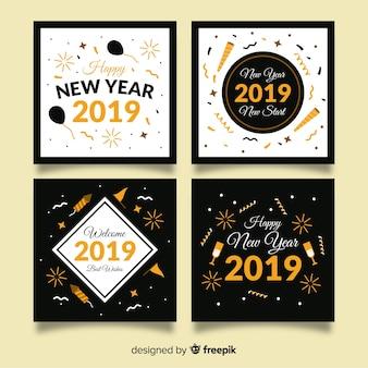 Coleção de cartão de ano novo com estilo dourado