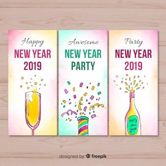 Coleção de cartão de ano novo de elementos em aquarela