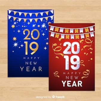 Coleção de cartão de ano novo de ouro e prata 2019