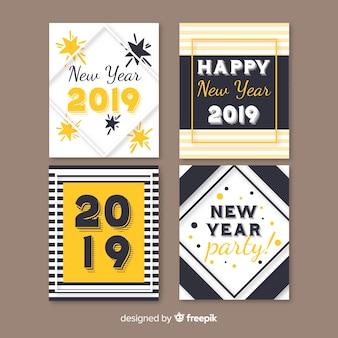 Coleção de cartão de ano novo simples