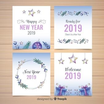 Coleção de cartão de ano novo