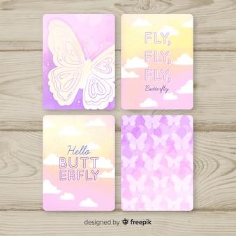 Coleção de cartão de borboleta em aquarela