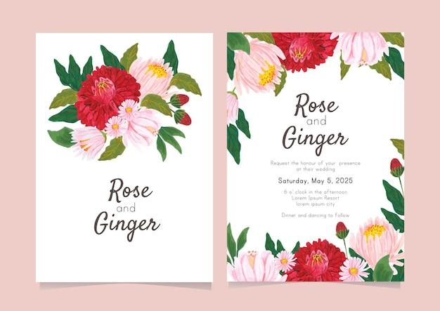 Coleção de cartão de casamento de flores