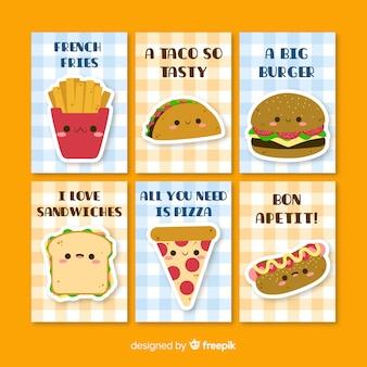 Coleção de cartão de comida bonito