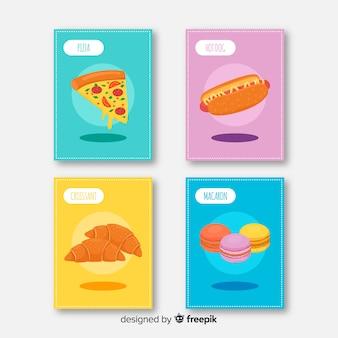 Coleção de cartão de comida colorida mão desenhada