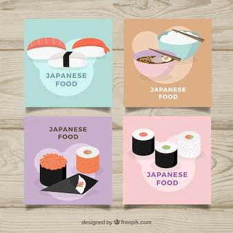 Coleção de cartão de comida com design plano