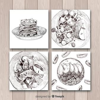 Coleção de cartão de comida de desenho realista