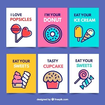 Coleção de cartão de comida doce com design plano