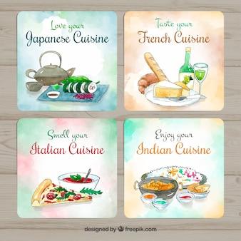 Coleção de cartão de comida em aquarela