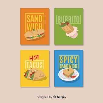 Coleção de cartão de comida letras