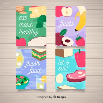 Coleção de cartão de comida plana