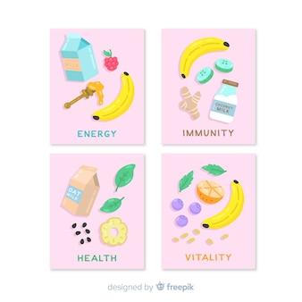 Coleção de cartão de comida plana Vetor grátis